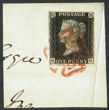 1840 1d Black Pl 8 SG 4m Fine Red MX STATE ONE Very Fine Used Cat. £525.00
