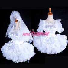 Us Size 22/U 00002Efa S 20-lockable white satin sissy maid wedding dress [G1596]