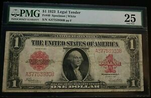 1923 $1 United States 'Red Seal' Note (PMG VF25)