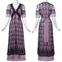 Fashion Women's Retro Vintage Victorian Style Sleeve V-Neck Lace Long Dress S-XL