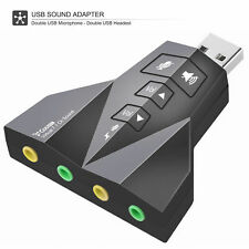 USB External Stereo Sound Adapter Virtual 7.1 for Windows Mac Linux