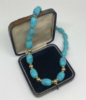 Vintage Necklace Faux Turquoise Plastic Beads Collar Length Screw Clasp Kitsch
