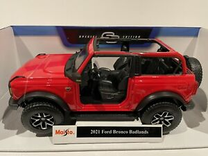 Maisto 1:18 Scale2021 Ford Bronco Badlands Red Diecast Model Vehicle Great Price