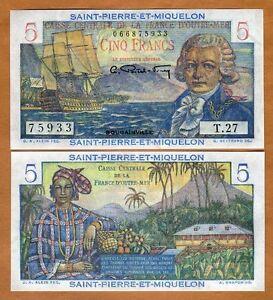 Saint Pierre and Miquelon, 5 Francs, ND (1950), P-22, UNC