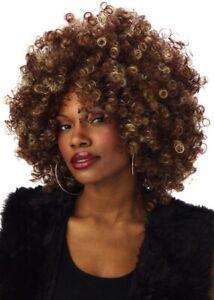 Fine Foxy Fro Afro 1970s 1980s Disco Hippie Blonde Browns Women Costume Wig