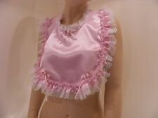 SISSY ADULT BABY PINK SATIN FRILLY LACE BIB , TV,CD,FANCY DRESS,LOLITA, COSPLAY