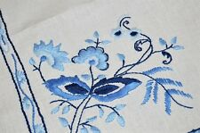 THE ARTISTRY OF THE BLUE ONION! VTG GERMAN HAND EMB TABLECLOTH ZWIEBELMUSTER