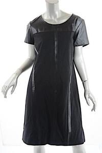 MARINA RINALDI Black Polyester Rayon Blend Leather Trim Knit Dress  Sz 19 US 12