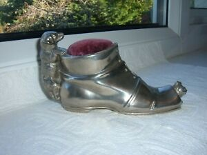Vintage Cat & Dog Boot Pin Cushion Velvet Pad Large Silver Metal Plated
