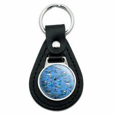 Ocean Life Whale Dolphin Manatee Shark Pattern Black Leather Keychain