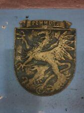 Vintage Pommern Shield solid brass Germany 15 x 18 cm  prewar WWII