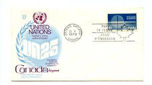 Canada FDC #513 UA Kingswood Cachet UN 25th Anniv 1970 98-1