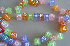 **2 Full Sets of Plastic Cube Coloured Alphabet Beads: White Colour Letters**