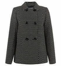 HOBBS Sidra Standalone Structured Black/Neutral Pea Coat. UK 10. RRP £199. BNWT.