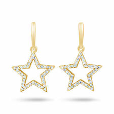 Leverback Yellow Gold SI1 Fine Diamond Earrings