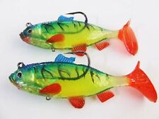 2 x REDFIN PERCH SWIMBAITS ~ RIGGED + READY TO GO...GREAT FOR COD etc