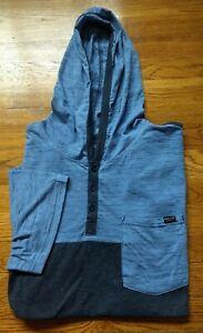 MARC ECKO CUT & SEW Men's Sz XXL  Pullover Hoodie Blue Grey Henley Colorblock