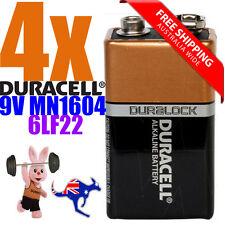 4x Duracell 9V MN1604 DURALOCK Alkaline Battery - EXP 2020