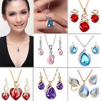 Fashion Crystal Pendant Choker Chain Necklace Earrings Wedding Bride Jewelry Set