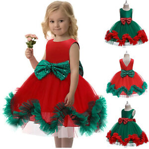 Kids Baby Girls Bowknot Pageant Gown Christmas Xmas Party Princess Wedding Dress