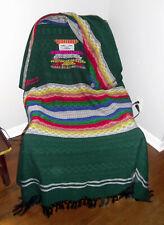 "Green Multicolor Stripe Lightweight Throw Blanket Mexican Handmade 52"" x 88"""