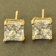 Korean jewelry yellow Gold Filled womens Crystal crystal small stud earrings