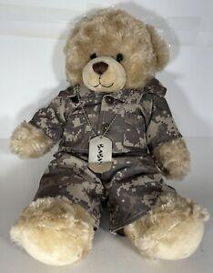 """Build a Bear 16"""" Teddy Bear Plush Stuffed Animal Military Army Outfit - Dog Tags"""