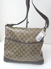 NWT $649+Gucci 374414 Crystal GG/Dark Brown Medium  Cross Body Bag, W/G.Receipt!