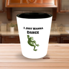 Shots Glass I Just Wanna Dance Dancing Frog Bar Collectible White Ceramic 1.5oz