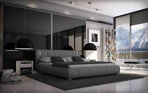 Bett 140x200 Doppelbett LED Designerbett Polsterbett Kunstleder Bettgestell Grau