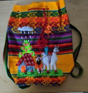 Peruvian Handmade Backpack Artisanal Bag (Scenery, llama)