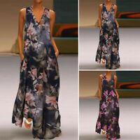 ZANZEA Women Sleeveless Summer Tank Dress Floral Print Sundress Long Maxi Dress