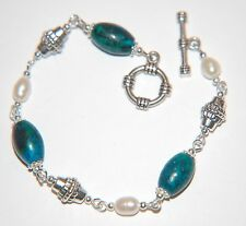 PEACOCK JASPER Gemstone & Freshwater PEARL & Tibetan Silver Linked Bracelet