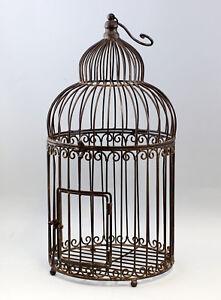 9977529 Metal Bird Cage Vintage Braun Rustic 29x67cm