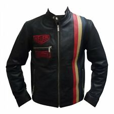 Steve McQueen Le Mans Driver Heuer Grandprix Originals Black Leather Jacket
