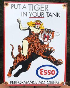 """VINTAGE 1961 DATED ESSO """"PUT TIGER IN YOUR TANK"""" GASOLINE PORCELAIN GAS SIGN"""