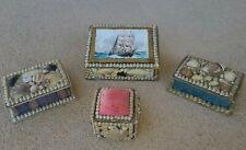 1910s Antique Seashell & Paper Mache Souvenir Jewelry Box Collection!