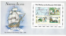 NORFOLK IS 1989 MUTINY ON THE BOUNTY Ships Bligh Souvenir Sheet FDC