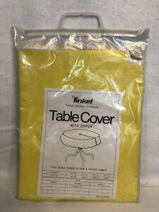 """Vintage Finkel Patio Umbrella 42"""" Table Cover Zipper Retro 60's Yellow NOS RARE"""