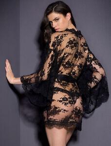UK Women Sexy Satin Lingerie Sleepwear Lace Robe Night Gown Babydoll G string 10