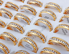 Wholesale Lots 50pcs Fine Jewelry Cubic Zircon Real Gold Stainless Steel Rings