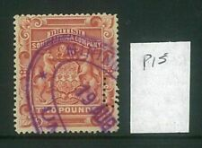 RHODESIA - 1897 £2 Arms  Perf 15 (SG54) Fiscally Used (ME734)