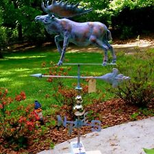 Huge Handcrafted 3 Dimensional Moose Weathervane Copper Patina Finish