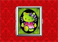 HELLO ZOMBIE KITTY CAT GREEN WEB SKULL METAL WALLET CARD CIGARETTE ID IPOD CASE