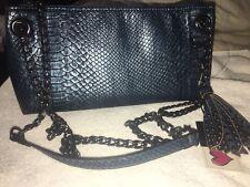 LA DIVA DESIGN ITALIAN Purse Shoulder Bag Blue & Black Gunmetal Straps NWT