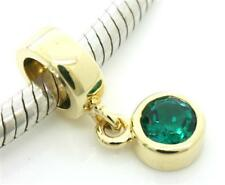 Dangle Diopside 9ct 375 Solid Gold Bead Charm FITS EURO BRACELETS 30 Day Return