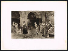 1890's Old Antique French Revolution Madame Roland Prison Art Photogravure Print