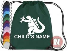 Kids Dinosaur Jurrasic Park Drawstring Bag School Personalised YOURNAMESAURUS