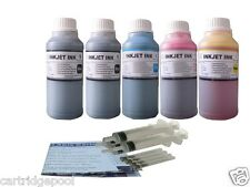 5x10oz Refill ink for HP 21/22 56/57 27/28 60 61 901 564 920  4Syringes 5x250ml