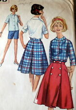 LOVELY VTG 1960s SKIRT, BLOUSE, & SHORTS Sewing Pattern 12/32